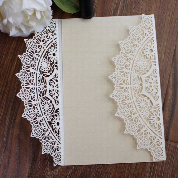 Wed Invitation White Laser Cut Elegant Wed Inviation Marriage Invitation Card Wed Paper Card Birthday Postcard Free Shipping