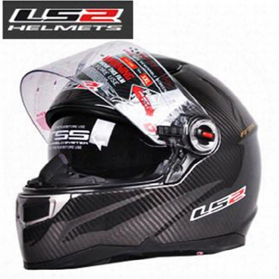 Wholesale Free Shipping Cascos Capacetes Ls2 Ff396 Ct2 Motorcycle Helmet Full Face Carbon Fiber Helmet Dual Lens With Airbag Pump