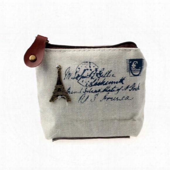 Wholesale- Ladies Canvas Classic Retro Small Change Coin Purse Little Key Car Pouch Money Bag Cheapest Girl's Mini Short Coin H Older Wallet