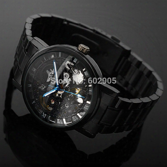 Wholesale-new Steampunk Clock Mens Skeleton Automatic Mechanical Black Steel Wrist Watches For Men Self-winding Mechanical Watch Relogio