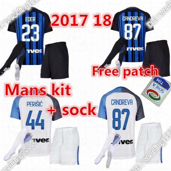 Wholesale Prices Soccer Jersey 17 18 Mens Inter Jersey Kit Milan Jerseys Jovetic #9 Icardi #8 Palacio #7 Kondogbia #17 Medel Soccer Jerseys
