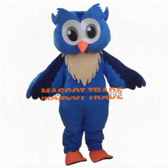 Wholesale-professinal New Big Blue Owl Mascot Costume Fancy Dress Cartoon Suit Adult Size