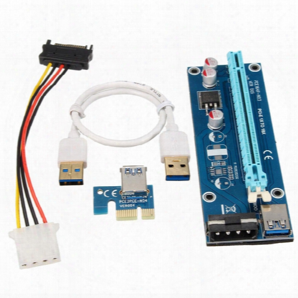 Wholesale- Usb 3.0 Pci-e Express 1x To 16x Riser Board Extender Adapter Card With Sata Cable