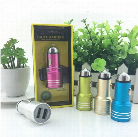 With Retail Package Box Aluminum Dua Usb Car Charger Auto 2.4a 1a Short Circuit Protection Safe Hammer Break Car Glass