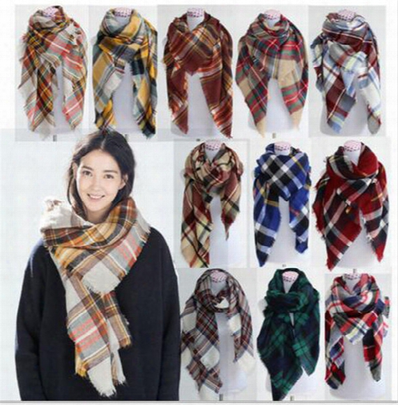 140cm Oversized Lattice Scarves Plaid Scarves Check Pashmina Grid Striped Shawl Tartan Tassel Scarf Cozy Wrap B1453