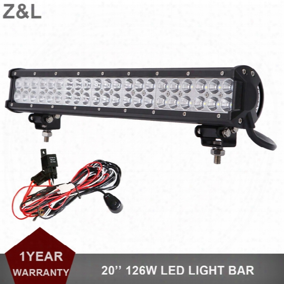 20 Inch 126w Offroad Led Driving Light Bar 12v 24v Auto Truck Trailer Atv Pickup Suv Tractor Van Camper 4x4 Awd 4wd Headlight