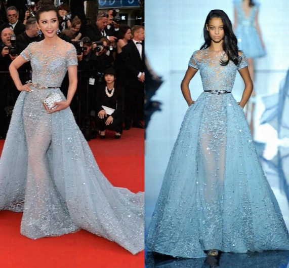 2016 Sexy Li Bingbing In Zuhair Murad Red Carpet Dresses Sheer Neck Jewel Applique Beads Lace Poet Short Sleeve Evening Celebrity Gowns
