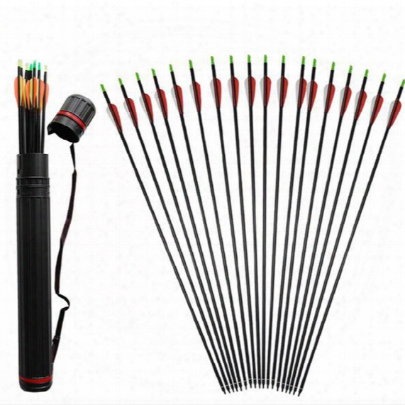 24pcs Huntingdoor Carbon Shaft 31 Inch Arrows With Replacement Screw-in Field Points And 1pc Plastic Telescopic Arrow Quiver