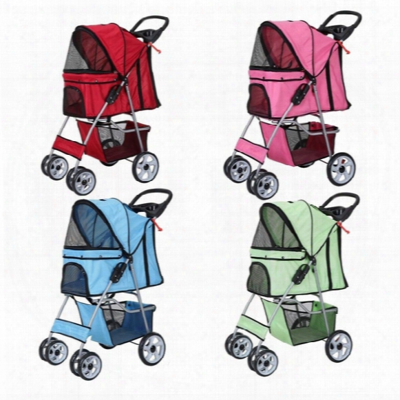 4 Wheels Confidence Deluxe Folding Four Wheel Pet Cat Dog Stroller Travel Carrier 4 Color