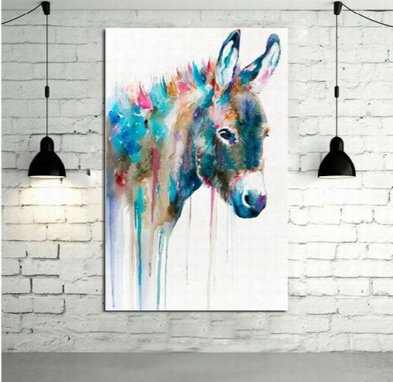 Abstract Lovely Donkey,hand-painted Modern Cartoon Animals Art Oil Painting,home Wall Decor On High Quality Canvas In Multi Sizes 014