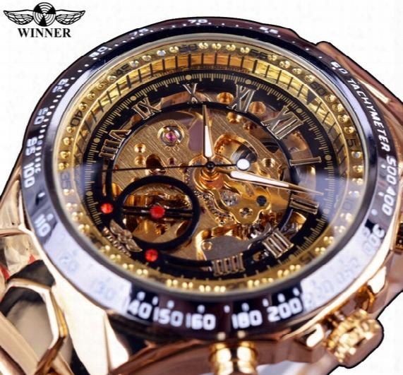 Bezel Golden Watch Mens Watches Winner New Number Sport Design Top Brand Luxury Montre Homme Clock Men Automatic Skeleton Watch