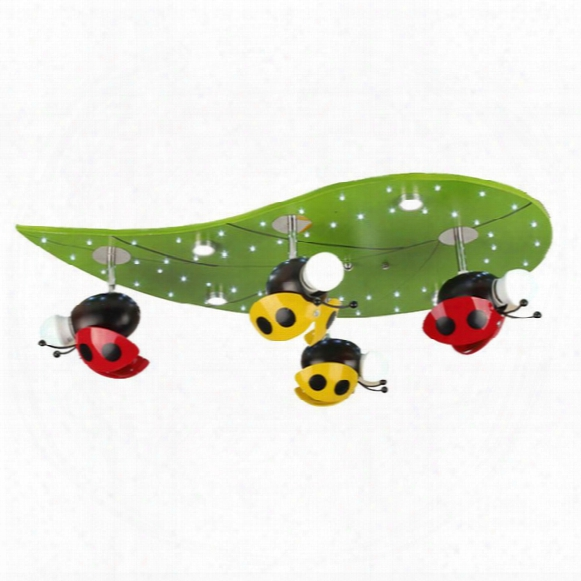 Cartoon Beetle Kids Room Ceiling Fixtures Cute Wooden Boy Girl Room Ceiling Lights Children Bedroom Ceiling Lamp
