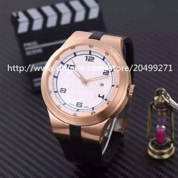 Fashion Classic Luxury Business Import Automatic Mechanical Back Through Large Dial Calendar Waterproof Rubber Strap Men's Watch