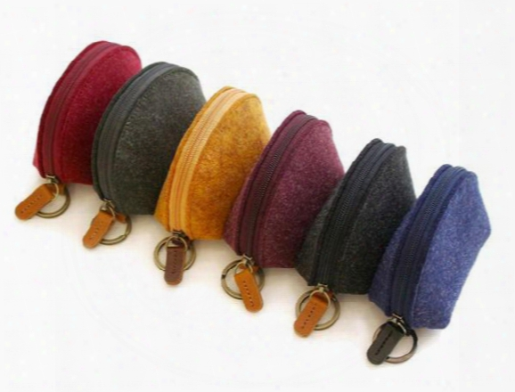 Fashion Wool Felt Coin Case Zip-around Key Holder Chain Ring Coin Key Credit Card Bills Purse Wallet Pouch Christmas Gifts 5 Colors
