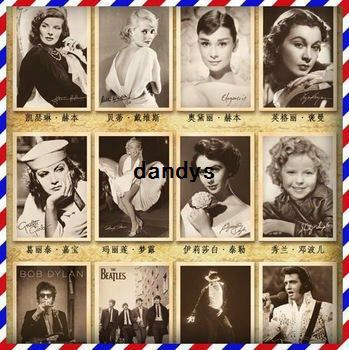Free Shipping! Vintages Tyle Movie Stars Poster Rock Stars Drawing Post Card Set /postcards/ Gift Cards 5 Set/ Lot