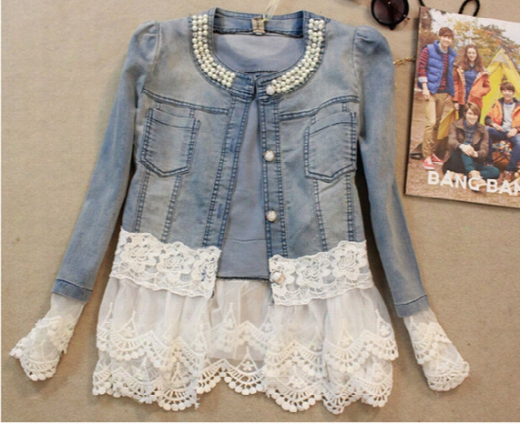 Hot 2016 New Spring Autumn Women Beautiful Lace Split Joint Fashion Denim Cardigan Coat Overcoat Qy148