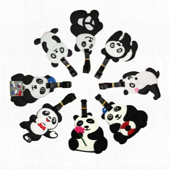 Lovely Cartoon Bear Panda Luggage Tag Soft Pvc Name Tags For Suitcase Baggage Cute Travel Accessories