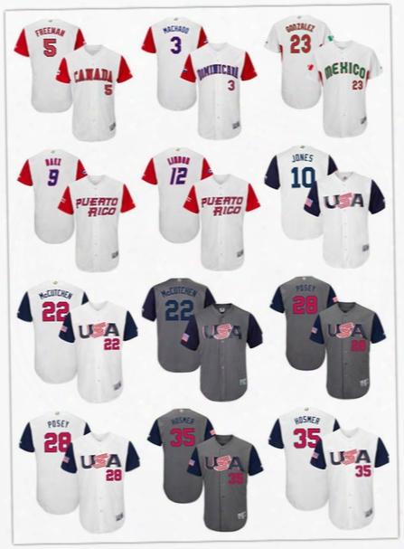 Men's 2017 World Baseball Classic #3 Machado #5 Freeman #9 Baez #10 Jones #12 Lindor #22 Mccutchen #23 Gonzalez #28 Posey Jerseys