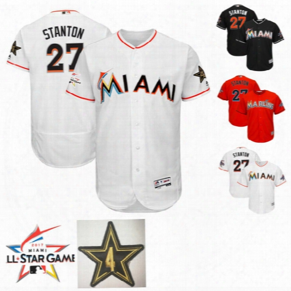 Mens Miami Marlins Giancarlo Stanton Majestic White Majestic 2017 Mlb All-star Worn Game Authentic Flex Base Jersey Orage Grey