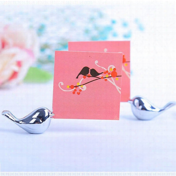 Metal Love Bird Place Card Holder Wedding Party Table Decor Bridal Baby Shower Baptism Favor Gift Party Souvenirs S201728