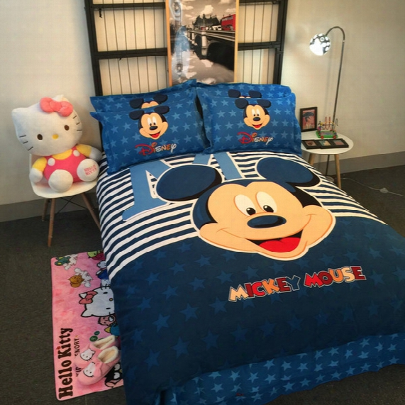 Minnie Mickey Mickey Mouse Hello Kitty Cartoon Twin Full Queen Size Cotton 4pcs Bedding Set Bedclorthes Set/sheet Duvet Cover Pillowcase