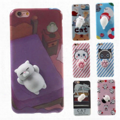 New 3d Stereoscopic Silicone Decompression Cartoon Tpu Case For Iphone 7 Poke Bear Pappy Cat Animal Soft Cartoon Cover For Iphone 6 Plus