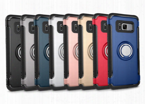 New For Samsung S8 Plus Ring Armor Bracket Phone Case Two-in-one Anti-wound Car Magnet Suction Sheath S7 Edge Case