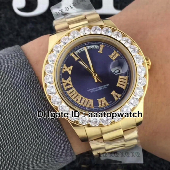 New Luxury Brand Date 44mm Big Diamond Dial Man Automatic Watch Classic Rome Nail Golden Stainless Steel Men's Best Watches Aaa