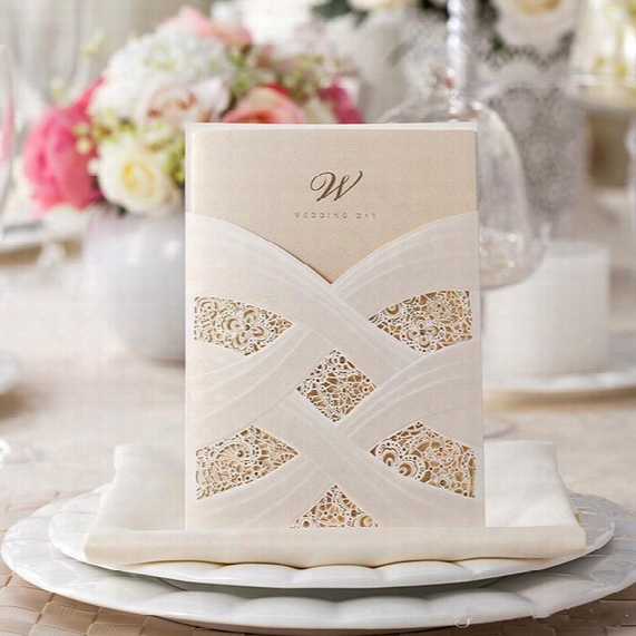 New Red Ivory Hollow Lace Wedding Party Invitations Laser Cut Wedding Cards With Free Envelope Cheap Sale 50 Pieces/lot