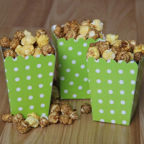Popcorn Food Carton Color Wave Point Snack Bag Disposable Birthday Wedding Dinner Party Supplies 1000pcs Dhl Free