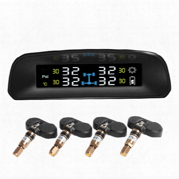 Solar Power Wireless Lcd Display Tpms With 4 Internal Sensor 2017 New Car Tire Pressure Monitoring Intelligent System