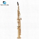 wholesale ammoon Brass Straight Soprano Sax Saxophone Bb B Flat Woodwind Instrument Natural Shell Key Carve Pattern with Carrying Case