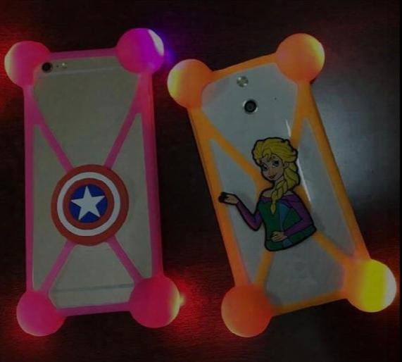 Universal 3d Cartoon Bumper Case Led Lamp Luminous Frame Protectors Cover Cases For Iphone 6 7 Plus Samsung S7 S8 3.5-5.5'