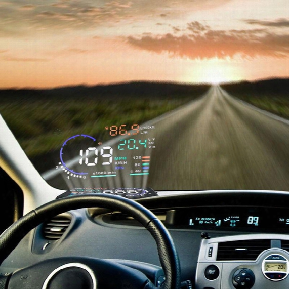 "Us Stock! A8 5.5"" Car Hud Head Up Display Vehicle-mounted Security System Obd2 Interface Plug/play Km/h Mph Speeding Warning"
