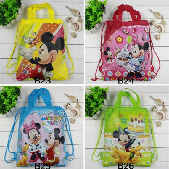 Wholesale-2016 Hot Mickey Mouse & Minnie Cartoon Drawstring Backpack Kids School Bags Children Beach Backpacks Mixed Designs Kids Party Gift