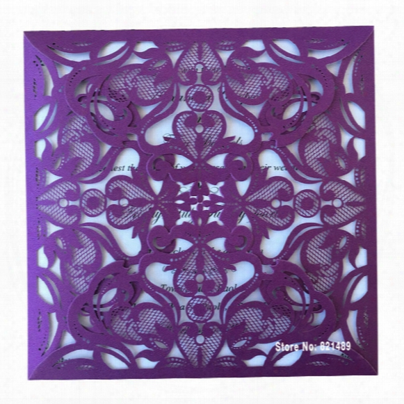 Wholesale- Affordable Purple Wedding Invitation, Purple Laser Cut Wedding Invitations, 2016 Purple Wedding Invitation Cards - Set Of 50