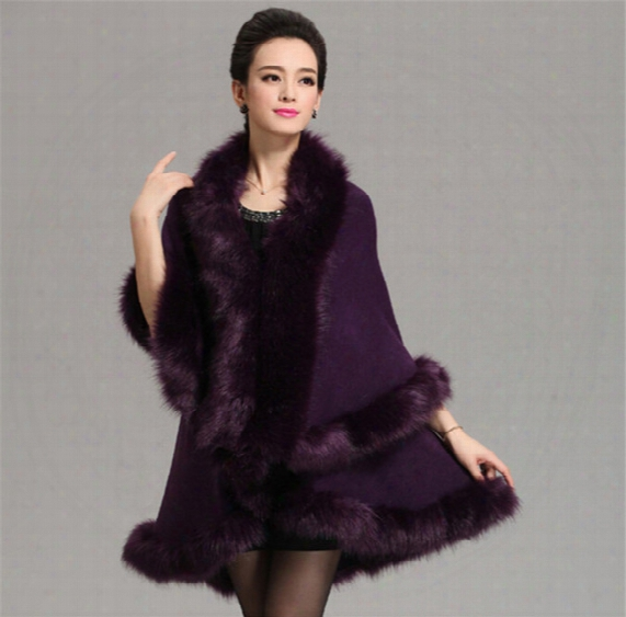 Women High Quality Fake Fox Fur Collar Wool Cashmere Poncho Capes Knitted Cardigan Womens Capes And Ponchos Fashion Fake Fox Fur Collar