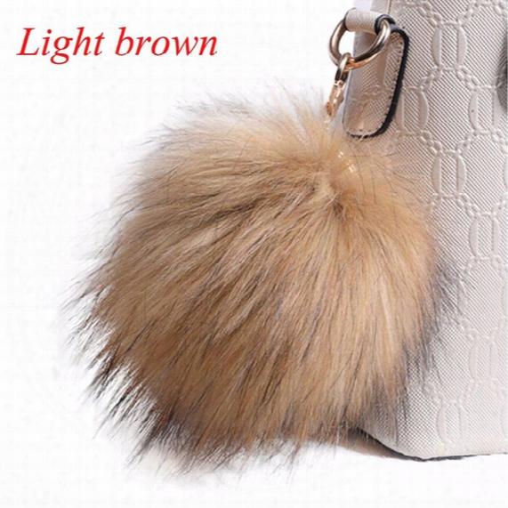 10 Colors New Fluffy Keychain Large 13cm Faux Fox Fur Pom Pom Ball Car Handbag Pendant Key Chain And Key Ring 1 Pc