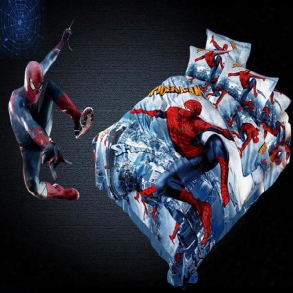 100% Cotton Cartoon 3d Superman Spiderman Twin Queen King Size 3/4 Pcs Bedding Set For Boys Duvet Cover Bed Sheet