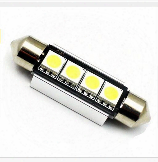 100x 36mm 39mm 41mm 4smd Canbus Festoon Bulbs C5w 5050 Led Light Source Canbus Error Free Car License Plate Light Bulb