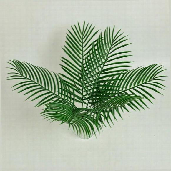15pcs Artificial Plastic Leaves Green Plants Fake Palm Tree Leaf Greenery For Floral Flower Arrangement Wedding Decoration
