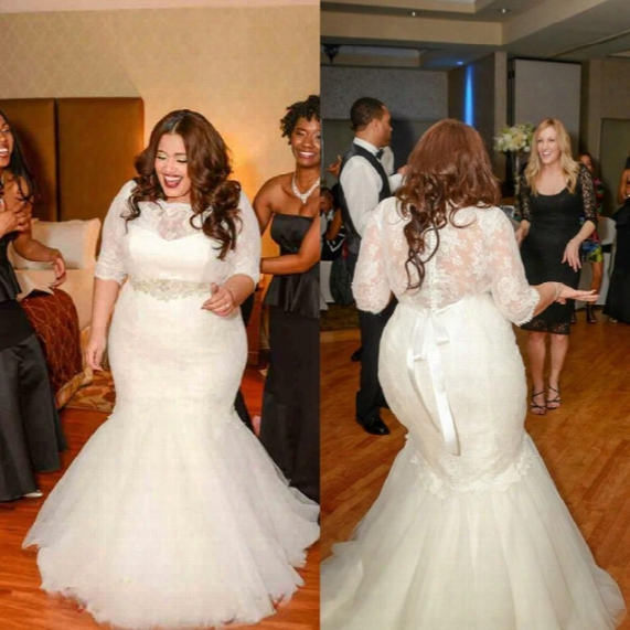 2015 Mermaid Lace Wedding Dresses With 3/4 Long Sleeves Vintage Plus Size Beaded Bridal Gowns Cheap Plus Size Sexy Sheer Dress Vestidos Lace