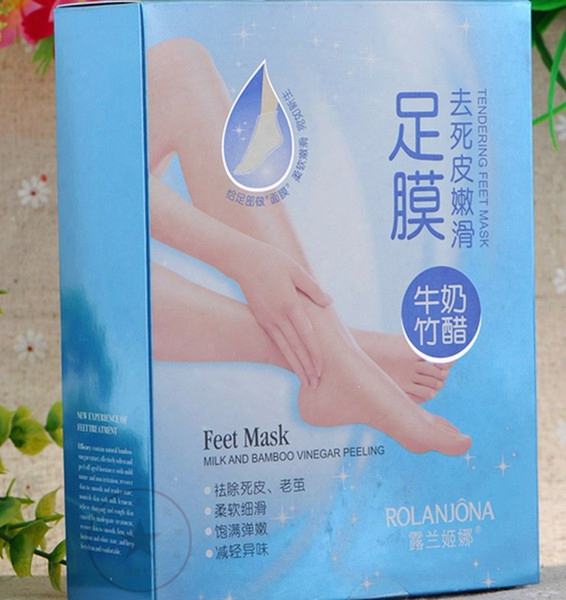 2015 New Rolanjona Milk Bamboo Vinegar Feet Mask Peeling Exfoliating Dead Skin Remove Professional  feet Mask Foot Care 4pairs