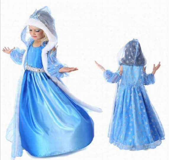 2016 Frozen Blue Dresses For Kids Costume Childrens Party Occasion Dresses Girls Hooded Clothes Hot Sale