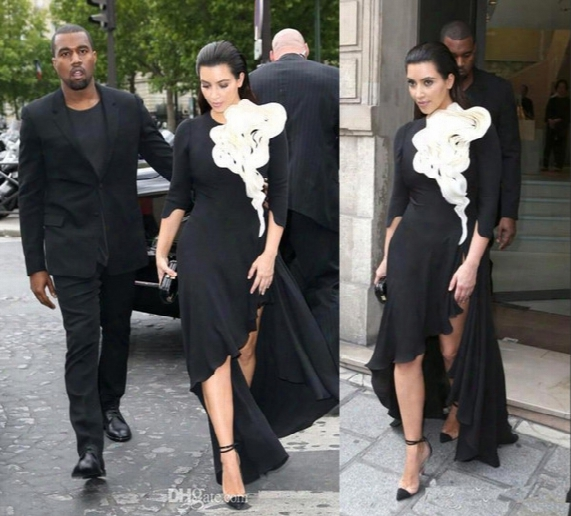 2017 Kim Kardashian Evening Dresses Long Sleeves Big Ruffles Flower Black Skirt Side Split High Low Red Carpet Celebrity Prom Gowns Bo6569