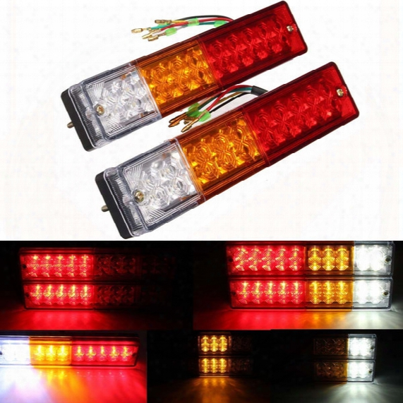 2x 20-led Car Truck Led Trailer Tail Lights Turn Signal Reverse Brake Light, Stop Rear Flash Light Lamp, Dc12v Red-amber-white, Waterproof I