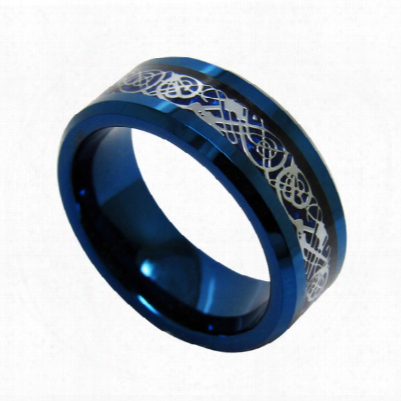 8mm Fashion Jewelry Blue Tungsten Carbide Ring Dragon Inlay For Men Wry-995