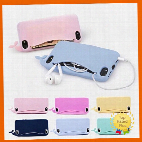 Cute Cartoon Whale Silicone Phone Case Soft Cover With Open Mouth For Iphone 5 5s Se 6 6s Plus