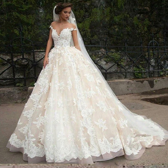 Exquisite Sheer Capped Milla Nova Wedding Dresses 2017 Trendy Lace Tulle Applique Vestido De Noiva Bridal Gown Ball Church For Bride