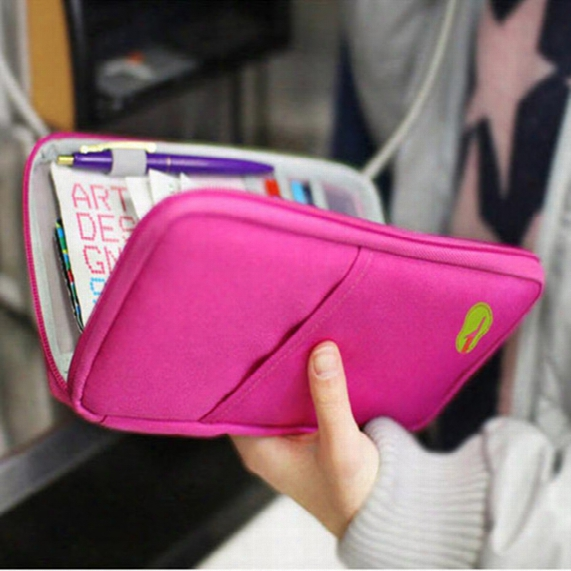 For Iphone 7 Samsung S7 New Passport Holder Organizer Wallet Multifunctional Document Package Candy Travel Wallet Purse Card Holder 100pcs